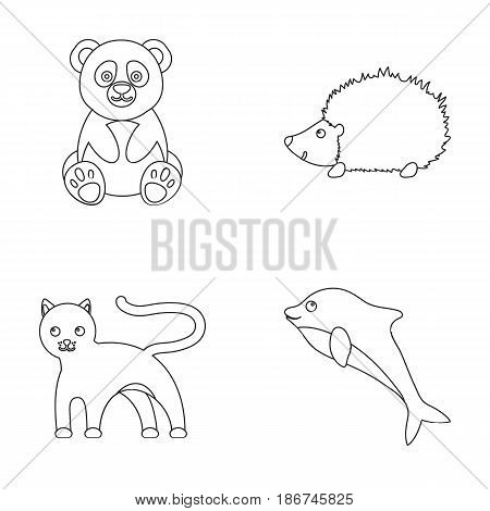 Panda, hedgehog, dolphin, panther.Animal set collection icons in outline style vector symbol stock illustration .