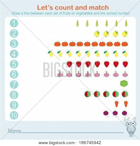 Counting and matching educational games kids, kids activity sheet. Learning math, exercises, stock vector illustration