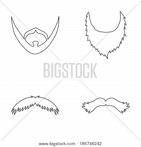 Man's beard and mustache.Beard set collection icons in outline style vector symbol stock illustration .