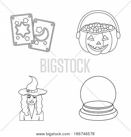 Tarot cards, holiday halloween, magician in a hat, crystal ball.Black and white magic set collection icons in outline style vector symbol stock illustration .