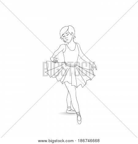 Girl Dancing In Ballet Shoes And Ballet Tutu. Little Ballerina I