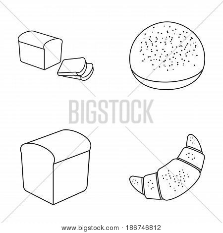 Croissant, half, sliced bread, burger for a hamburger.Bread set collection icons in outline style vector symbol stock illustration .