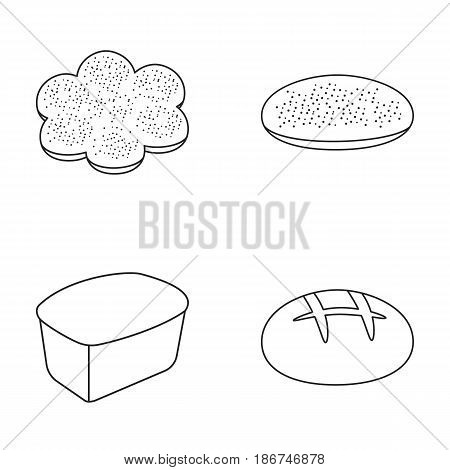 Baking, pizza, a round loaf, rectangular bread.Bread set collection icons in outline style vector symbol stock illustration .