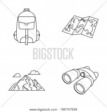 Backpack, mountains, map of the area, binoculars. Camping set collection icons in outline style vector symbol stock illustration .