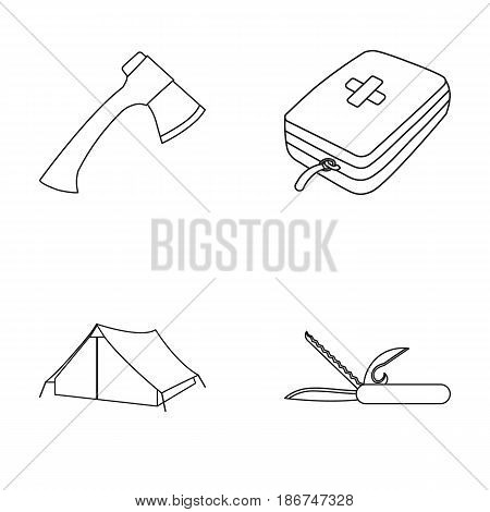Ax, first-aid kit, tourist tent, folding knife. Camping set collection icons in outline style vector symbol stock illustration .