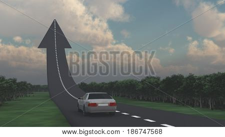 Car goes on the road in the shape of arrow.   3D rendering
