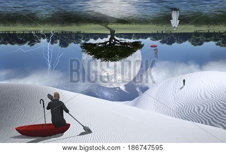 Surreal painting. Man in red umbrella floating on white desert another man flying with umbrella.  3D rendering  Some elements provided courtesy of NASA