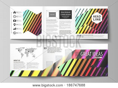 Set of business templates for tri fold brochures. Square design. Leaflet cover, abstract flat layout, easy editable vector. Bright color rectangles, colorful design with geometric rectangular shapes forming abstract beautiful background.
