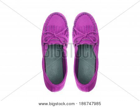 A pair of purple moccasins isolated on white