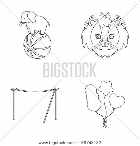 Elephant on the ball, circus lion, crossbeam, balls.Circus set collection icons in outline style vector symbol stock illustration .