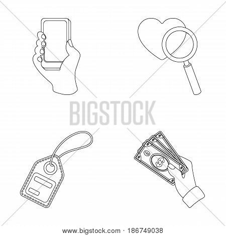 Hand, mobile phone, online store and other equipment. E commerce set collection icons in outline style vector symbol stock illustration .