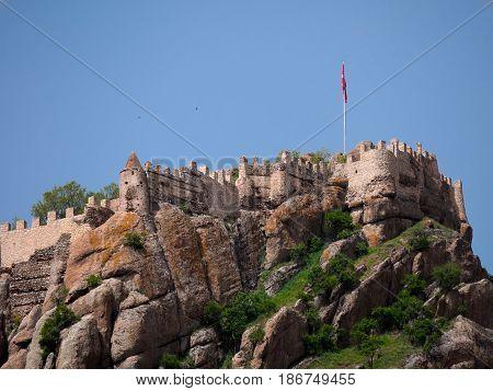Afyon, Turkey - May 12, 2017: Ancient Castle In Afyon, Turkey