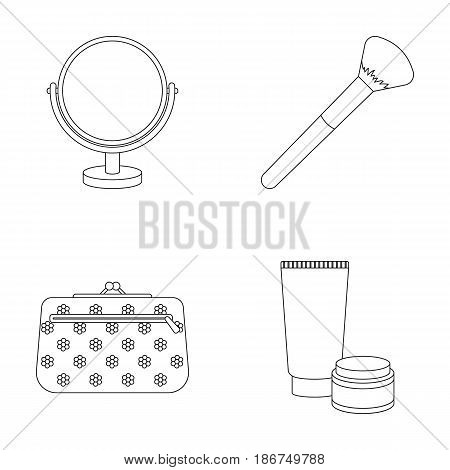 Table mirror, cosmetic bag, face brush, body cream.Makeup set collection icons in outline style vector symbol stock illustration .