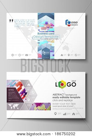 Business card templates. Easy editable layout, abstract vector design template. Bright color lines and dots, colorful minimalist backdrop with geometric shapes forming beautiful minimalistic background.