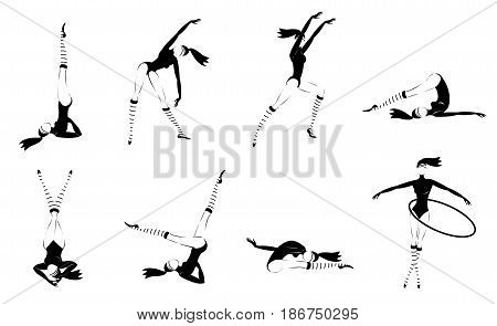 Monochrome gymnastic girls set with exercising and training women practicing in different poses isolated vector illustration