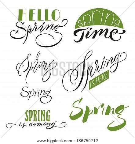 Calligraphic spring inscriptions set with beautiful letterings in different variations in black and green colors isolated vector illustration