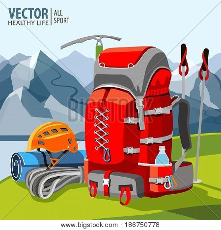 Hiking equipment, rucksack, poles, rope, helmet ice pick Mountaineering Mountains Vector Illustration