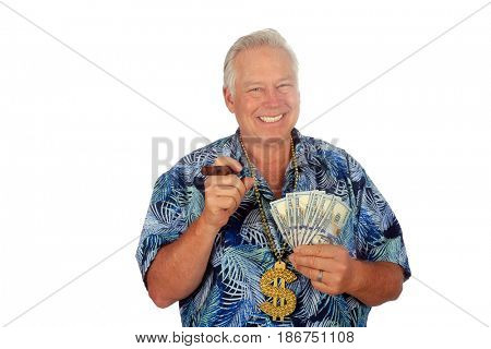 Man with American Money. Isolated on white. Room for text. A man holds money in his hand. Lottery winnings, Gambling Winnings, Money to loan, Loan Shark concepts.