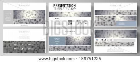 Business templates in HD format for presentation slides. Easy editable abstract vector layouts in flat design. Pattern made from squares, gray background in geometrical style. Simple texture