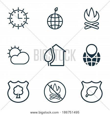 Set Of 9 Ecology Icons. Includes Guard Tree, Sun Clock, Pin Earth And Other Symbols. Beautiful Design Elements.