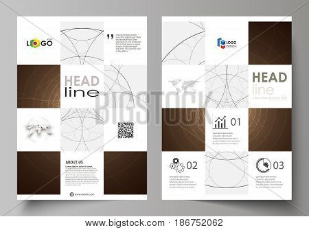 Business templates for brochure, magazine, flyer, booklet or annual report. Cover design template, easy editable vector, abstract flat layout in A4 size. Alchemical theme. Fractal art background. Sacred geometry. Mysterious relaxation pattern.