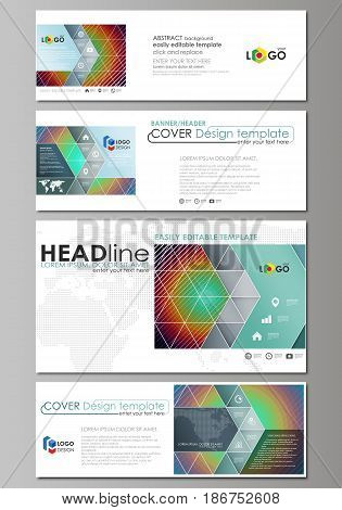 Social media and email headers set, modern banners. Business templates. Easy editable abstract design template, vector layouts in popular sizes. Minimalistic design with circles, diagonal lines. Geometric shapes forming beautiful retro background.