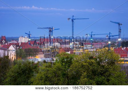 Cranes of building constraction in city center of Gdansk, Poland