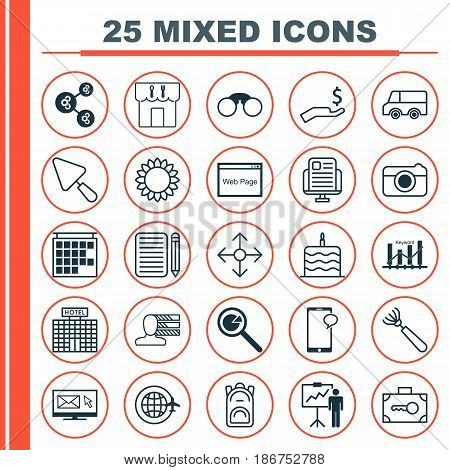 Set Of 25 Universal Editable Icons. Can Be Used For Web, Mobile And App Design. Includes Elements Such As Project Analysis, Resort Development, Harrow And More.