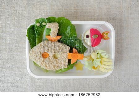 Submarine And Fish Lunch Box, Fun Food Art For Kids