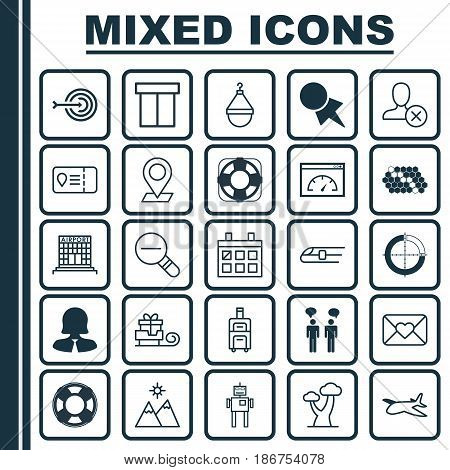 Set Of 25 Universal Editable Icons. Can Be Used For Web, Mobile And App Design. Includes Elements Such As Sea Rescue, Disjointed Circle Chart, Team Meeting And More.