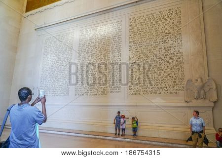 The Speech of Abraham Lincoln in stone - The Lincoln Memorial - WASHINGTON DC - COLUMBIA