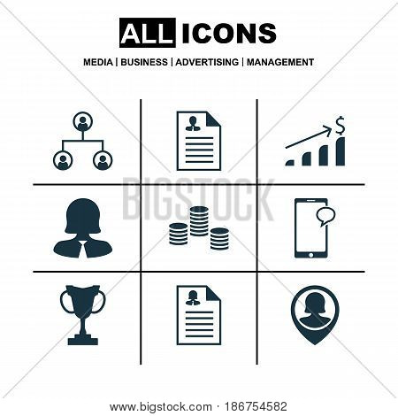 Set Of 9 Human Resources Icons. Includes Successful Investment, Tree Structure, Business Woman And Other Symbols. Beautiful Design Elements.