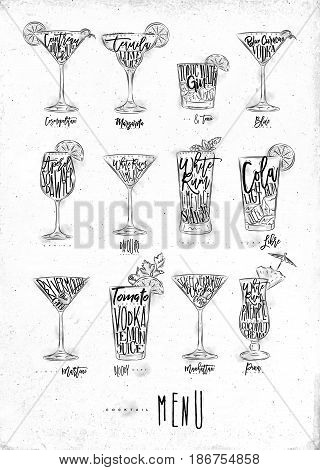 Cocktail menu graphic lettering bloody mary blue lagoon cosmopolitan cuba libre daiquiri martini gin tonic manhattan margarita mojito pina colada spritz drawing on dirty paper background