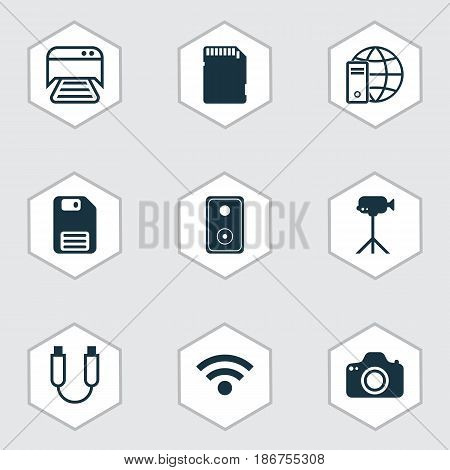 Set Of 9 Computer Hardware Icons. Includes Audio Device, Memory Card, Camcorder And Other Symbols. Beautiful Design Elements.