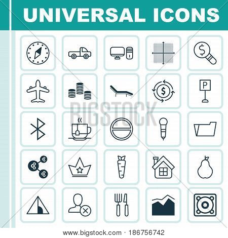 Set Of 25 Universal Editable Icons. Can Be Used For Web, Mobile And App Design. Includes Elements Such As Corona, Vehicle Car, Personal Computer And More.