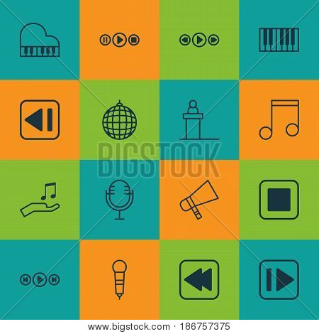 Set Of 16 Audio Icons. Includes Microphone, Song UI, Rewind Back And Other Symbols. Beautiful Design Elements.