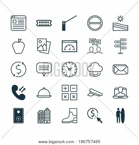 Set Of 25 Universal Editable Icons. Can Be Used For Web, Mobile And App Design. Includes Elements Such As Dynamic Memory, Hotel, Mailbox And More.