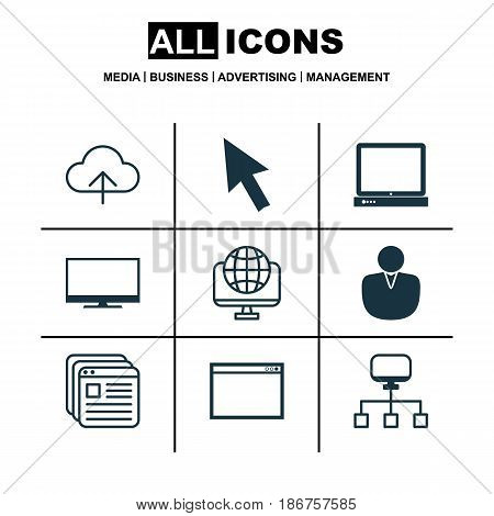 Set Of 9 Internet Icons. Includes Account, Local Connection, Website Bookmarks And Other Symbols. Beautiful Design Elements.