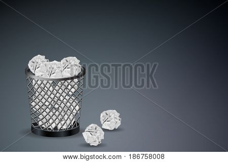 Business Creative and Planning concept : Crumpled paper ball in trash bin on gray floor. (3D Illustration)
