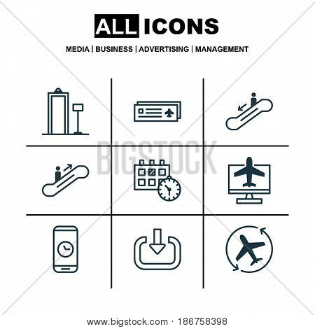Set Of 9 Travel Icons. Includes Call Duration, Escalator Down, Moving Staircase And Other Symbols. Beautiful Design Elements.