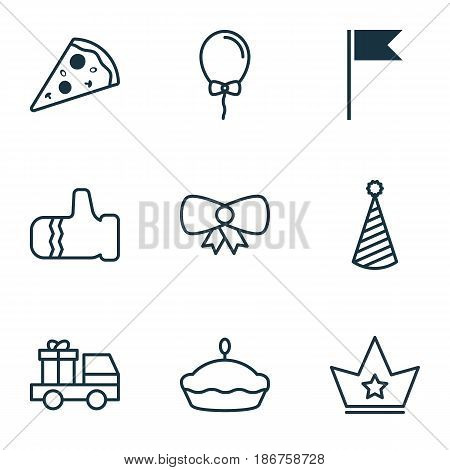 Set Of 9 New Year Icons. Includes Corona, Lorry Birthday, Mitten And Other Symbols. Beautiful Design Elements.