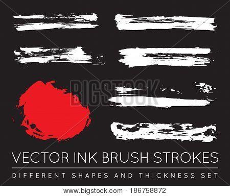 Set of Vector Black Pen Ink Brush Strokes. Grunge Ink Brush Stroke. Dirty Brush Stroke.