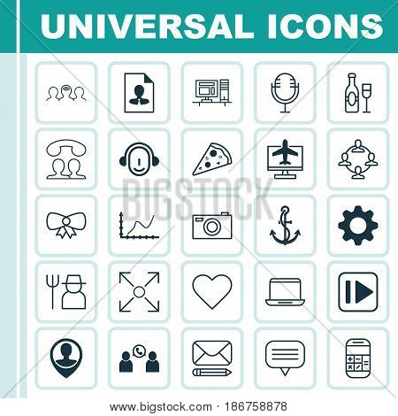 Set Of 25 Universal Editable Icons. Can Be Used For Web, Mobile And App Design. Includes Elements Such As Settings, Grower, Notebook And More.