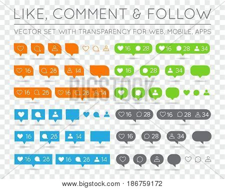 Vector Like, Follower, Comment Icon Set EPS