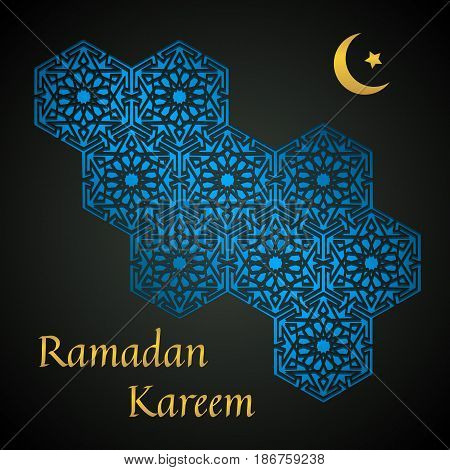 Ramadan Kareem. Abstract black background with geometric pattern with crescent moon and star