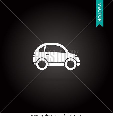 Car Icon Vector White on Black in EPS 10