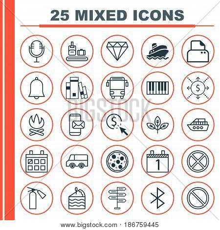 Set Of 25 Universal Editable Icons. Can Be Used For Web, Mobile And App Design. Includes Elements Such As Fire Extinguisher, Lorry, Bonfire And More.