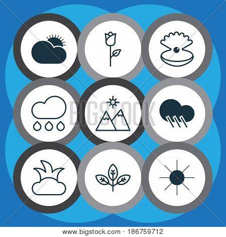 Set Of 9 Nature Icons. Includes Love Flower, Sunshine, Landscape Symbols. Beautiful Design Elements.