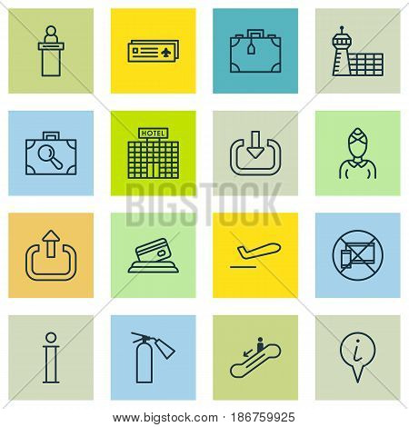 Set Of 16 Transportation Icons. Includes Exit, Credit Card, Suitcase And Other Symbols. Beautiful Design Elements.