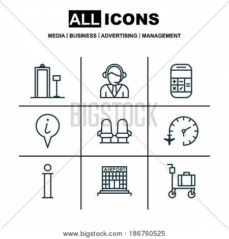 Set Of 9 Airport Icons. Includes Suitcase Pushcart, Armchair, Info Pointer And Other Symbols. Beautiful Design Elements.